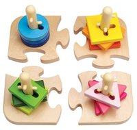 Wholesale Early Learning Center ELC Peg Puzzle Learn To Turn The Shapes And Slot Them Onto The Pegs Kids Children Wooden Toy