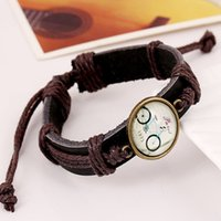 bicycles east - Fashion Women Men Gift Style Hand woven Braid Alloy Round Bicycle Cameo Leather Hemp Cord Cuff Adjustable Bracelet