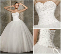 Wholesale Hot Selling High Quality Cheap Vintage Wedding Dress Organza Beading White Bridal Gown Ctock Size6