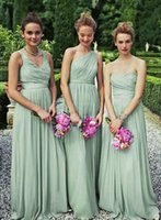 Cheap Styles Available Sleeveless Pleated Floor Length Wedding Party Formal Dress A-line Ruched Chiffon Long Evening Dress Bridesmaid Gown LAN032