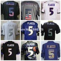 baltimore fashion - Factory Outlet Baltimore Joe Flacco Men Elite Color White Black Purple Gray Strobe fashion USA flag Football Jerseys