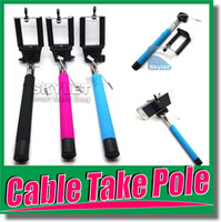 Universal audio wiring kit - with groove Cable Take Pole Self Timer Kit Extendable Monopod Handheld Selfie Stick Rod Wired Audio Cable Take Pole for Iphone iOS Samsung