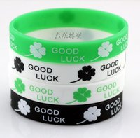 Wholesale Fashion Silicone Bracelet good Luck Four Leaf Clover Jelly Bracelets Unisex style hot selling via DHL ship