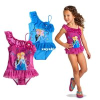 Wholesale In the summer of foreign trade explosion frozen girl cartoon snow romance lace children s swimwear One Pieces swimsuit frozen