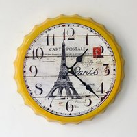 beer towers - Creative beer cover decorative wall clock wrought iron wall clock Eiffel Tower home wall decoration hanging A