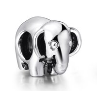 Cheap 925 Cute Baby Elephant Shape Typical European Charm Sterling Silver Beads fit Pandora Bracelet Snake Chain Jewelry