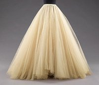 Wholesale Custom Made Medium Beige Tulle Skirts Floor Length Mulitilayer Cheap Party Dress For Girl Free Size Formal Women Gowns Hot Sale