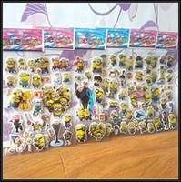 Wholesale 2015 Kids Minions bubble sticker Cartoon stickers toys Minions Wall Stickers Home Decor random decal J072403 DHL