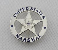 antique courting - Federal law of the United States emblem MARSHAL US federal court law enforcement badges silver surface