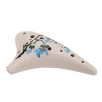 alto design - 12 Holes Ceramic Ocarina Flute Alto C Chinese traditional Design Paint Crackle Colored Drawing Magnolia Flower Submarine DHL I1109