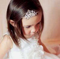 beaded elastic headbands - Kawaii Baby Girls Elastic Headband With Pearl Beaded Crown Children Wedding Hair Band Child Xmas Party Hair Accessories E1653