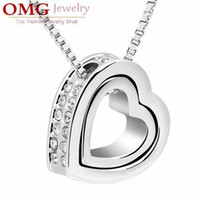 Wholesale Silver plated double Inlaid rhinestones heart pendant necklace fine fashion alloy jewelry SKU A083