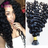 Wholesale LUFFY A Indian Human Virgin Hair Curly I Tip Hair Extensions g s s pack pre bonded I Tip Human One Bundle Natural Color