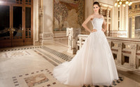 Cheap 2015 Tulle Ball Gown Wedding Dresses Strapless Sleeveless Beaded Lace Appliques Belt Covered Button Chapel Train Bridal Gowns Demetrios 1496