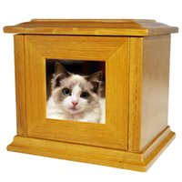 Wholesale Cheap Pet Wooden Urn Cat Urn for Ashes Box