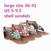 Wholesale National Trend Bohemia Shell Women BeachSandals Rhinestone Colorful Sparkling Diamond T Strap Flat Sandals Plus Size