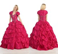 Reference Images Sweetheart Taffeta Vestidos De fiesta Sweetheart Red Quinceanera Dresses with free jacket Beading Ruffle Ball Gown Formal gown Lace up back WC30