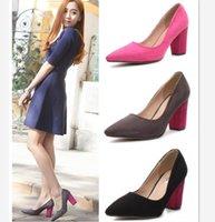 microfiber suede - Microfiber Suede Color Block Dress Pumps Women Shoes Chunky Heels Pink Grey Black cm size to