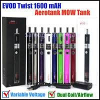 Cheap Hot EVOD Twist 2 kit Aerotank MOW Atomizer kits 1600 mAH Variable Voltage EVOD Battery Aerotank EMOW Vaporizers electronic cigarettes kits