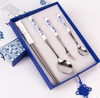 Wholesale Housewares blue and white porcelain tableware kitchen stainless steel tableware