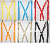 Wholesale Mens Suspenders Womens Adults Suspenders Clip on X Back Braces Elastic Suspenders Black Solid Colors