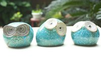 banks place - FBH031607 Lovely animal owl piggy bank a money box Q version ceramics handicraft small place students present