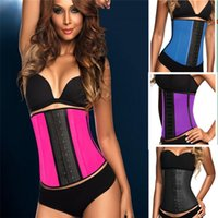 waist cinchers - 2015 Latex Waist Cincher Steel Boned Latex Waist Trainer Rubber Corsets Body Shape Wear Latex Bustier Waist Training Corsets S XL