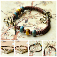 Wholesale Color Turquoise beads antique gold CROSS shape DIY bracelet