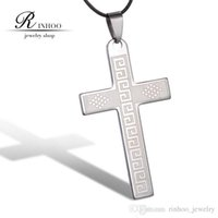 stainless steel cross pendant - Unisex Men Cool Fashion Stainless Steel Cross Pendant Necklace black leather chain Pendant Necklace punk exaggerated festival Gift
