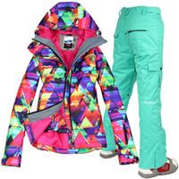 Wholesale waterproof jacket Gsou snow ski suit set womens snowboard jackets mountain ski suit women skiing clothing set