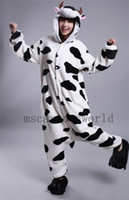 adult sleep suits - 2015Cows Pajamas Animal suits Cosplay Costume Adult Garment Coral Fleece Stitch Cartoon Animal Sleep
