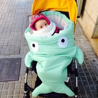 best newborn strollers - Best Top Quality Shark Sleeping Bag Newborns Bags Winter Strollers Bed Swaddle Blanket Wrap Cute Bedding Baby Sleeping Bag