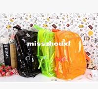 Bolsas de hombro para mujer de la muchacha del muchacho de la manera clara transparente mochila escolar bolsa de plástico Estudiante libro de ocio monedero 6 colores