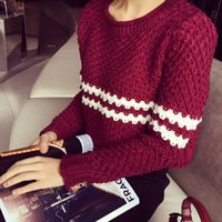army sweater shop - South Korea Shopping new autumn and winter wave striped long sleeved short paragraph wild Slim ladies wool sweater