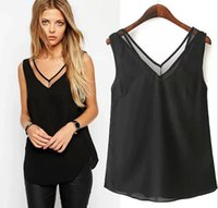 Wholesale Women Sexy Deep V neck Sleeveless Chiffon Blouse Vest Cheap yarn Patchwork Tank Shirts Girls Blouses Tops Women Clothing Apparel