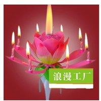 Precio de Velas de cumpleaños barcos-Velas de cumpleaños creativo doble rociador giratorio de fuegos artificiales de la música de baile de la lámpara de la vela de loto de loto vela el envío libre