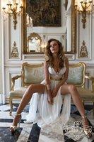 Wholesale 2015 Beach Vintage Wedding Dresses V Neck Chiffon Floor Length Sexy Open Slit