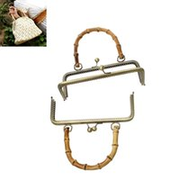bamboo handle purse - bag filler Metal Frame Kiss Clasp Rectangle For Purse Bag Antique Bronze Bamboo Handle Open Size x20 cm x18 cm Pc new