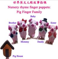 Wholesale new Finger Puppets Nursery Childrens Bedtime Educational Fairy Tale Animal Story Pig Finger Family Christmas gifts