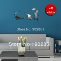 baby cat wallpaper - funlife x32cm x13in d Cats Playing Mirror Wall Stickers Nursery Baby Room Wall Self adhesive Wallpaper