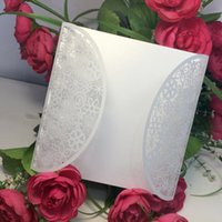 Wholesale 10Pcs Romantic White Wedding Party Invitation Card Envelope Delicate Carved Flowers