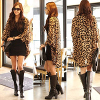 Wholesale New Sexy Fashion Western Girl Women Leopard Batwing Sleeve Ponchos Blouse for Women Lady girls Shirts Clothing
