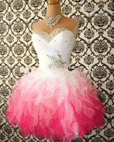 Cheap 2015 Cheap Hot Pink And White Cute Homecoming Dresses Ball Gowns Corset Back Graduation Dress Short Mini Prom Organza Tiered Cocktail Gowns