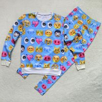 Cheap New women hoodies suit harajuku 3d cartoon print emoji expression tracksuits sweatshirt+pants sportswear pullover sweatshirts FG1510