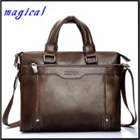 Wholesale Leather Notebooks For Men - Wholesale-2015 Business Men Leather Briefcase Messenger Bags Men Bag For Notebook Men Shoulder Bag Brand Leather Office Bags BG292