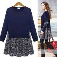dresses shop - Women Floral Chiffon Knit Sweater Jumper Blouse Top Knitwear Dress UK drop shopping