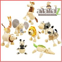Wholesale Baby Education Wooden Toys Toddler Educational Animal Wooden Toys Anamalz Maple Wood Moveable Animals for Children Kids