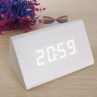 Wholesale New White Wood Triangular White LED Alarm Digital Desk Clock Wooden Thermometer