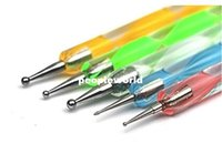 Wholesale 200sets set Nail Art Tool Steel Dotting Marbleizing Pen Nail Art Paint Pen Decoration Nail Art Manicure Tool
