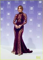 ally - Jennier Loopez Ally for Equality Award HRC National Dinner Celebrity Dresses Sheer Cutout Applique Beads Sequins High Neck Evening Gowns